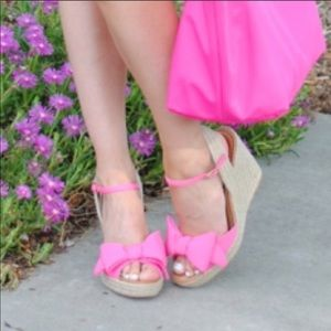 Kate Spade Pink Bow Espadrille Wedge Sandals